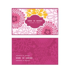 Pink field flowers horizontal frame pattern vector