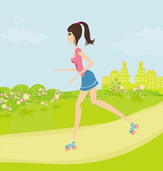 Teen girl having fun on roller skates in the park vector