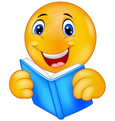 Happy smiley emoticon reading book vector