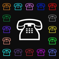 Retro telephone handset icon sign lots of colorful vector