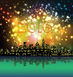 New year 2016 night silhouette fireworks colourful vector
