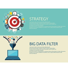 Flat style business strategy and big data filter vector
