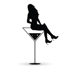Girl silhouette with martini black vector