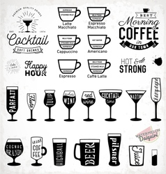 Typographic Drink Icon Set vector image