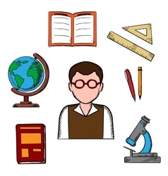 Education and school objects icons vector