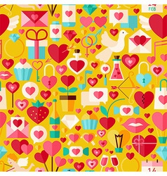 Valentine day flat design yellow seamless pattern vector