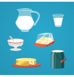 Milk food and drink products decorative icons set vector