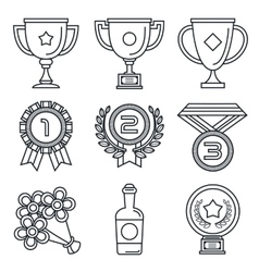 Black lineart icon set trophy and awards vector