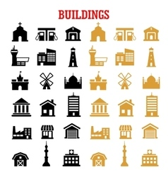 Black and yellow flat building icons vector image