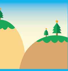 Cartoon christmas tree on mountain vector