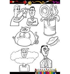 cartoon sayings set for coloring book vector image