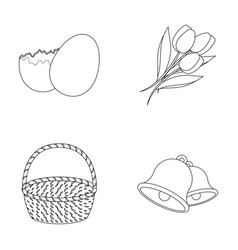 Chocolate egg bells basket and flowerseaster vector