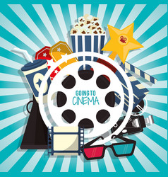 Cinema movie concept with pop corn soda glasses vector