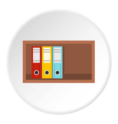 Colorful office folders on wooden shelf icon vector
