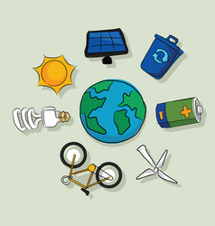 Energy alternative icons solar panel wind vector