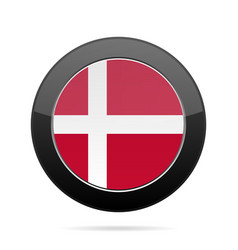 Flag of denmark shiny black round button vector