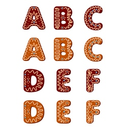 Gingerbread alphabet letters from A to F vector image vector image