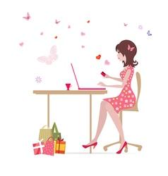Glamorous laptop girl vector