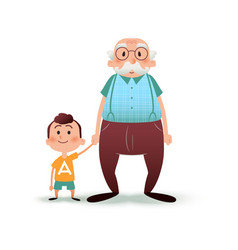 Grandfather and grandson holding hands little boy vector
