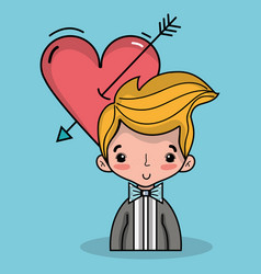 Groom lover with suit and hairstyle design vector