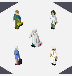 Isometric human set of seaman doctor plumber and vector