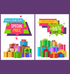 Only one day special price exclusive sale posters vector