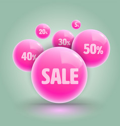 Pink ball group for sale promotion advertising vector