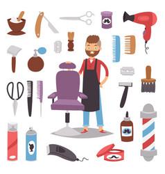 Professional barber man character making haircut vector