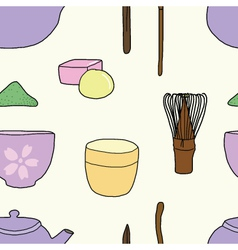 Seamless of Ceremony of Japanese green tea vector image