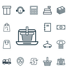 set of 16 e-commerce icons includes callcentre vector image vector image