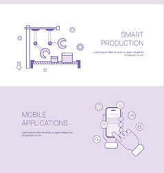 set of smart production and mobile application vector image
