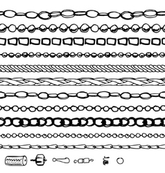 Set with chains woman fashion Contour black and vector image