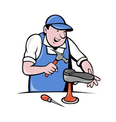 Shoemaker cobbler shoe repair working vector