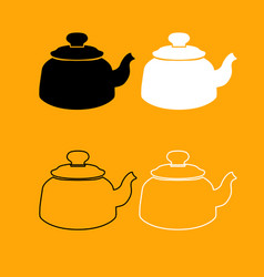 teapot black and white set icon vector image