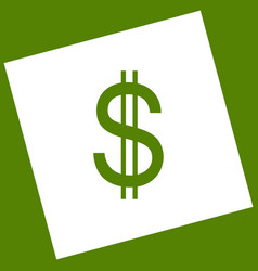 United states dollar sign white icon vector