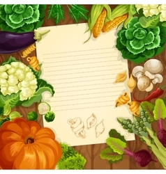 Vegetables recipe or message note blank vector image