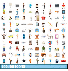 100 job icons set cartoon style vector image