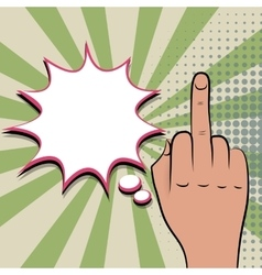 Negative hand sign fuck green pop art background vector