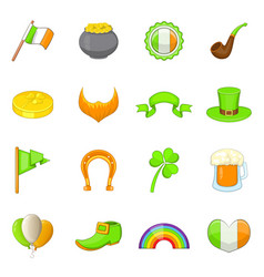 saint patrick items icons set cartoon style vector image