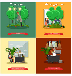 Set of detective posters in flat style vector