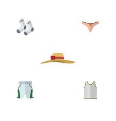 flat garment set of trunks cloth lingerie foot vector image