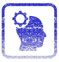 Intellect gear framed textured icon vector