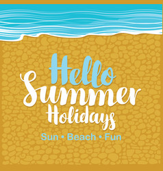 Travel banner with the sea beach sand and gravel vector