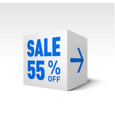 Cube banner template fifty-five percent off vector