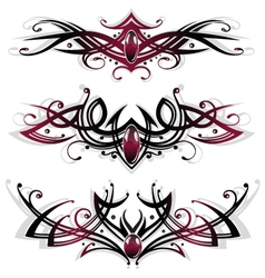 Tribal set red black vector