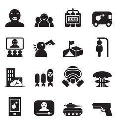 Terrorist killer assassin icons set vector