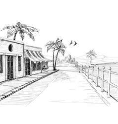 Small and quiet city at sea shore street view vector
