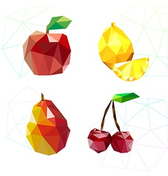 Set of juicy fruit polygon apple lemon cherry an vector