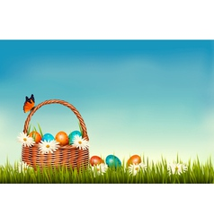 Spring Easter background Basket with Easter eggs vector image