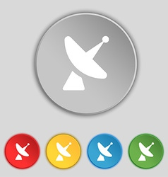 Satellite dish icon sign symbol on five flat vector